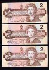 Canada 1986 $2 Bc 55b X 3 Consecutive Large / Small B