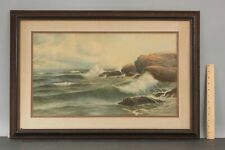19thC Antique GEORGE HOWELL GAY American Maritime Seascape Watercolor Painting