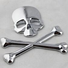 1XChrome Skeleton Head Cross Bone 3D Logo Emblem 3M Car Exterior Sticker For SUV