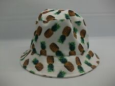 "Pineapple Bucket Hat White Green Brown 22.5"" S/M Fitted Cap"