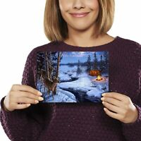 A5 - Winter Camping Snow Scene Christmas Print 21x14.8cm 280gsm #46448