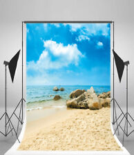 Beach Rocks Blue Sky Clouds Photography Props Vinyl Backdrop 3x5ft Background