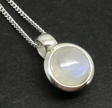 Rainbow Moonstone small round pendant, Solid Sterling Silver, New, 8mm. UK.