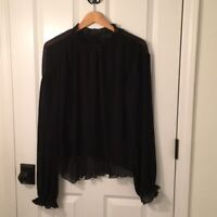 NWT TOPSHOP PLEATED SWISS DOT HIGH COLLAR BLACK BLOUSE SIZE 10 $79