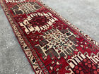 3x10 VINTAGE WOOL RUNNER RUG HAND-KNOTTED ANTIQUE red handmade geometric tribal