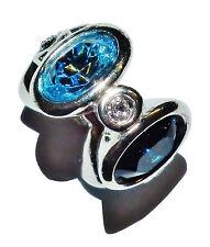 "Pre-Owned Genuine CHAMILIA Silver & Blue Gem Set ""Majestic Oval"" Bead"