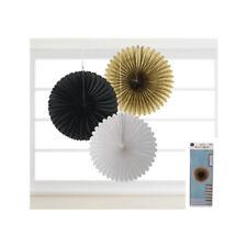 Hanging Honeycomb Lanterns x3 36cm Black Gold White Glam Wedding Party Birthday