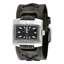 Black Racing Sport Unisex Watch with Faded Black X Leather Cuff Band FXB060K