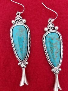 SQUASH BLOSSOM TURQUOISE FISH HOOK EARRINGS.  NATURAL STONE.    *NWT*