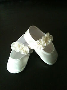 G01 Ivory White Christening Shoes  Baptism Baby Flower Girl Booties Shoes 0-12 M