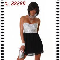 vestito donna mini abito corto paillettes & voile tg L
