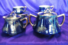 Stunning Cobalt Blue Tea Set with Demitasse Tea Cups & Saucers