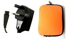 3 Pin del Reino Unido rápida Cargador Cable De Alimentación Para Philips Afeitadora Qt4050 + Viaje Gratis Funda