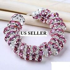 20 Pcs Light pink Crystal Rhinestone Roundle European Flower Spacer Beads