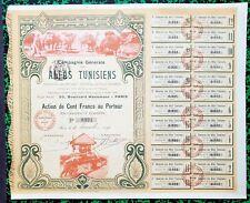 Tunisie & Paris IX ème - Rare & Très Déco Cie Générale des Alfas Tunisiens  1909