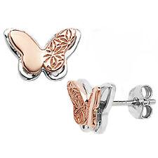 Argento Sterling e Oro Rosa Orecchini a perno farfalla decorata gioielli