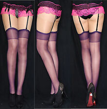 5 Pair Suspender Belt Stockings in Red Universal Size 20 Den S-xxl