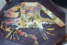 SAVE THE QUEEN TOP Birds Autumn Mesh Stretch Fit L UK 10/12 Made in Italy EUC