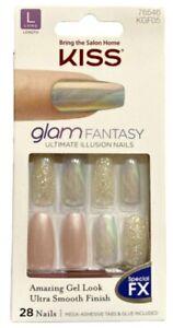 Kiss Glam Fantasy Glue On Full Cover Long Length Shiny Pearly Iridescent Nails