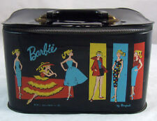 Vintage Barbie Doll Black Vinyl Travel Pal Train Station Case Trunk 1961 RARE