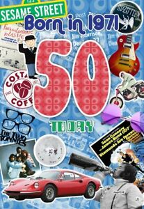 50TH MALE BIRTHDAY YEAR YOU WERE BORN GREETING CARD WITH FACTS ABOUT 1971
