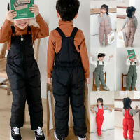 New Toddler Kids Baby Boy Girl Winter Thick Solid Overalls Jumpsuit Pants Romper