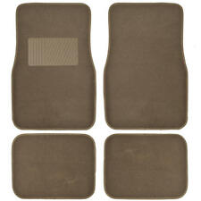 Supreme Plush 4 Piece High Quality Carpet Auto Car Floor Mats Solid Dark Beige