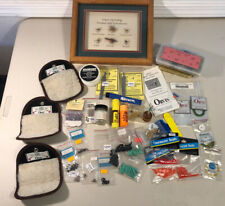 Lot Of Vintage Quality Fly Fishing Tying Supplies Framed Flies Orvis Fly Wallets