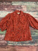 Vintage Carefree Fashions Red Paisley Bandanna Print Women's Size Large