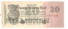 Banknote Geldschein Deutschland Deutsches Reich 20 Millionen Mark 1923 Ro. 96c