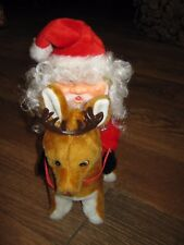 Vintage Used Christmas Santa Claus Riding w/ Reindeer battery operated & light