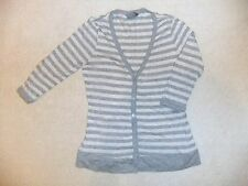 Dorothy Perkins Grey and Peach Striped Cardigan Size 10 NEW!