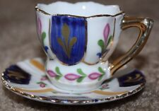 CLASSIC COLLECTIBLE MY TREASURE GENUINE PORCELAIN MINI CUP/SAUCER W/GOLD TRIM