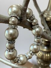Champaign Faux Pearl Stretch Bear Bracelet With Crystal Bars