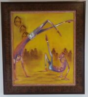 """Oil Painting on Canvas Dancing Figures Signed Framed Art Home Decor (23"""" x 26"""")"""