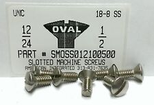 #12-24x1/2 Oval Head Slotted Machine Screws Stainless Steel (12)