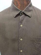 Nat Nast Mens M Brown w Contrast Stitching Silk Short-Sleeve Shirt