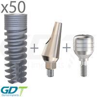 50 Spiral Implant & Angled Abutment & Healing Cap Internal Hex ,Dental Implant