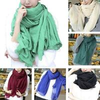 Fashion Long Cotton Linen Women Girls Large Scarf Wrap Shawl Stole Scarves Q52