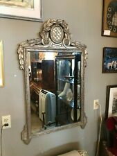 """Mid Century Neo Classical Silver Tone Washed Wall Mirror 42"""" x 28"""""""