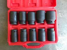 "10 pcs 3/4"" Deep Impact Socket Set 24 - 46mm with plastic case"