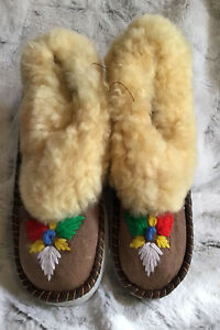 Genuine Embroidered Moccasin Leather Sheepskin Slippers Made In Poland As Is