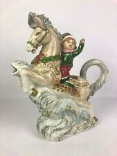 VIntage Omnibus Fitz and floyd Christmas Water Pitcher Jug Elf Horse Christmas