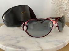 Vintage Gucci Shield Sunglasses Crystals Burgundy Red Metal Frame