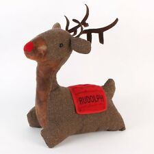 Rudolph Reindeer Faux Leather & Fabric Christmas Winter Doorstop XM2663