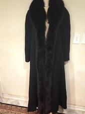 Marvin Richards Women's Winter Black fox fur tuxedo LambsWool coat tag 6&fit M L