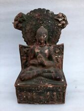 Antique Old Terracotta Clay Hand Made Hindu God Mahavir Buddha Figure Sculpture