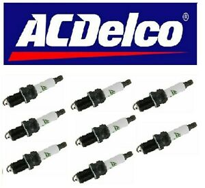 Set of 8 Copper Resistor Spark Plugs ACDELCO FR3LSJ