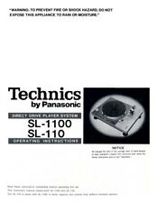 Technics SL-110 SL-1100 Turntable Owners Instruction Manual Reprint