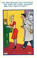 RUDE RISQUE COMIC RICHTER MAN WANT to EXPERIMENT AGAIN with SEXY LADY POSTCARD